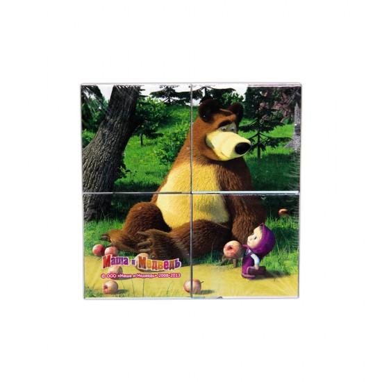 Puzzle 87132 4 Kubika Maşa i medved (Animakkord)