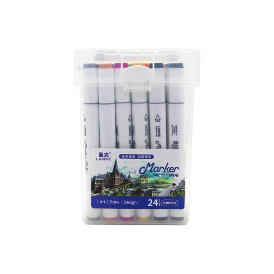 Flomaster LK909-24 rəng 2-tərəfli